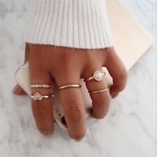 5Pcs/Set Mid Above Knuckle Pearl Crystal Ring Band Gold Tip Finger Stacking Hot
