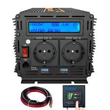 Convertitore 12V 220V 230V Onda Pura Inverter 1000W 2000W trasformatore LCD USB