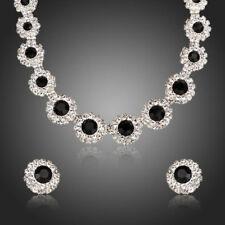 Round Black Cubic Zircon White Stones Pendant Necklace Stud Earrings Jewelry Set