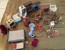 Lot of Vintage Dollhouse Kitchen furniture with kitchen miniatures 50 Pcs.
