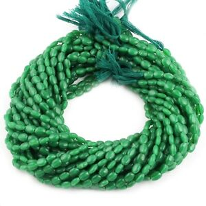 Green Jade Oval Smooth Shape Jewelry Making Beads Strand 5x7mm 12.9 Inches