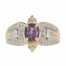 14k Yellow Gold Oval Sapphire & Diamond Ring 7