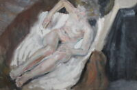 VINTAGE NUDE COMPOSITION OLD WOMAN PORTRAIT OIL PAINTING SIGNED