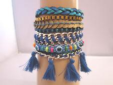 Damen Armband Hippie Ethno Ibiza Festival Magnetverschluß Münzen Silber Blau