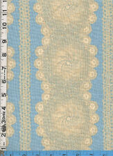 Fabric Blue Hill HONEYMOON COTTAGE LACE STRIPE BLUE