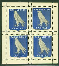 ICELAND 1905 Falcon Christmas stamp in Block of 4, og, NH except tiny thin LR