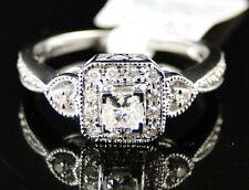 14K Ladies White Gold Princess Cut Diamond Engagement Wedding Heart Ring 1/3 Ct