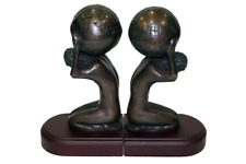 New  Human Atlas with Globe Bronze on wood  bookends