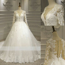Long Sleeves Applique Wedding Dresses Beaded Lace Bridal Gowns Real Image Custom