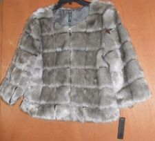 NEW JACKET COAT FAUX Mink FUR Size M Zip Lined 3/4 Slv BOLERO Short Grey WOMENS