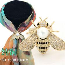Fashion Bee Scarf Ring Brooch inlay Zircon Pearl Jewelry Holder Brass Buckle