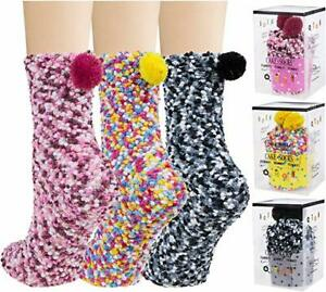 Womens Fuzzy Socks - Plush Slipper Socks Winter Warm Fuzzy Crew Cupcake Socks