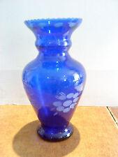 Dekorative Blumenvase Blau Glas Tischdeko Einrichtung Accessoires 22 cm