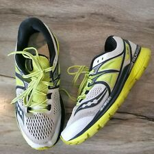 Mens Saucony Triumph ISO White Black Neon Yellow Running Shoes Sz 10