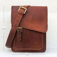 "11"" Handmade Vintage Leather Crossbody Messenger Bag Satchel Tab/iPad Sling Bags"