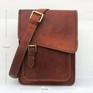 "11"" Handmade Vintage Leather Crossbody Messenger Bag Satchel Tab/iPad Sling Bags"