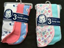 New Gerber Baby Girls (2 sets) 3-Pack Terry Lined Burp Cloths