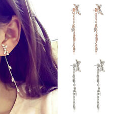Long Korean Style Silver Plated Tassel Leaves Cubic Zircon Stud Fashion Earrings