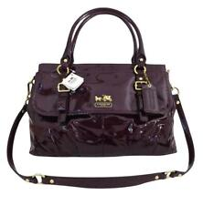 New NWT Coach Madison Red Plum Patent Leather Carryall Tote Purse 18600 RARE!!