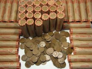 Lincoln Wheat Cent Roll of 50 Coins From Collectors Farm Estate Lot Super Cheap
