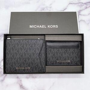 Michael Kors Men Billfold Wallet and Card Case Gift Set MK Signature Black ~ NIB