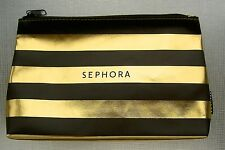SEPHORA HOLIDAY MAKE UP COSMETIC SEPHORA LOGO BAG BLACK GOLD LEATHER-LIKE NEW