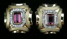 18k Pink Tourmaline  Diamond Gold Earrings Vintage Estate Jewelry Ladies 13.5 gm