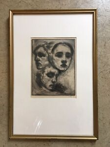 """Ernest Alfred Cole """"Three Heads"""" SIGNED Original Etching - RARE!"""