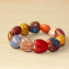 Multi Colours Ceramic Hearts Beads Stretch Bracelet