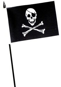 """Skull and Crossbones Pirate Small Hand Waving Flag 6"""" x 4"""""""