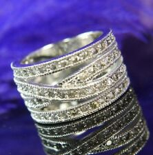 4 row Cubic Zirconia 0.925 Sterling Silver estate wide wedding band Ring size 7