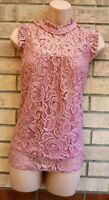 DOROTHY PERKINS DUSTY PINK LACE SLEEVELESS PARTY BLOUSE T SHIRT TOP TUNIC 12 M