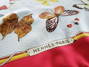 Hermes Vintage Farandole Butterfly Print Silk Scarf in Red - gorgeous and rare!