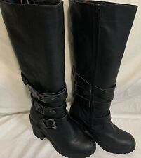 New Look black faux leather casual knee high boots size 6