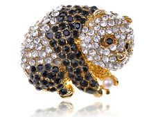 Zoo Panda Bear Pearl Jet Black Crystal Rhinestone Gold Toned Statement Cute Ring