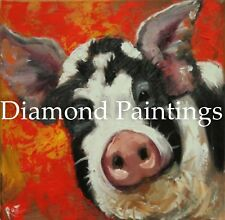 Cute Black and White Pig Square Full Drill Diamond Painting Kit