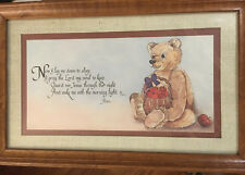 "Vtg Home Interiors Framed ""Now I Lay Me Down To Sleep"" Teddy Bear Print by Casey"