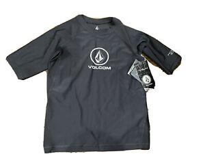 Boys Kids Black Volcom Short Sleeve Rash Guard Swim Shirt Youth 10-12 NWT