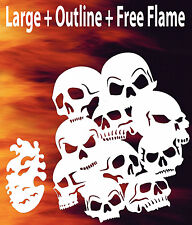 Airbrush Skull Background 3 + Flame Stencil Skulls Template Spray Vision