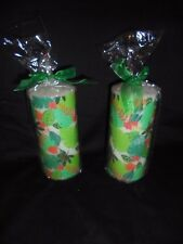 X 2 Jungle Multi Floral Citronella Scented Pillar Ribbon Candles 65 HRS