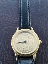 RARE State of Oregon 1859 Ladies' Round Coin Watch Black Leather Strap