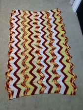 Vintage yellow gold white crochet afghan lap blanket chair throw flame stitch