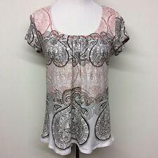 Axcess Liz Claiborne Womens Shirt Sz M Short Sleeve Paisley 100% Cotton EUC