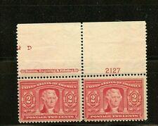 U.S. #324 (Us536) Pair/Plate # & Imprint, Thomas Jefferson, Mnh, Fvf, Cv$160.00