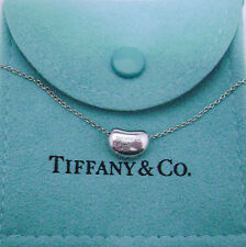 Tiffany & Co Elsa Peretti Sterling Silver Small Bean Pendant & Chain        dn