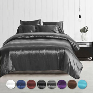 1000TC Silk Satin Single/KS/Double/Queen/King/SK Size Bed Quilt/Duvet Cover Set