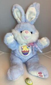 "DanDee Hoppy Hopster MTY Blue Lavender Embroidery Easter Bunny Rabbit Plush 31"""