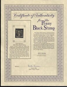 GREAT BRITAIN, Victoria, #1 Penny Black, USED Stamp with certificate