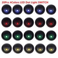 20X3Pin 4Color Led Dot Light 12V Car Auto Boat Round Rocker ON/OFF Toggle Switch