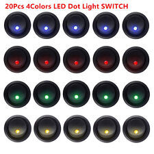 20X3Pin 4Color Led Dot Light 12V Car Auto Boat Round Rocker ON/OFF Toggle Switch